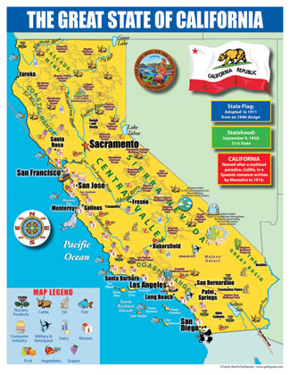 Gallopade International California State Map For Students Pack - Map of the state of california