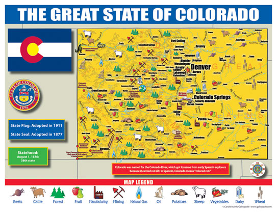 Gallopade International Colorado State Map For Students Pack Of - Colorado state map