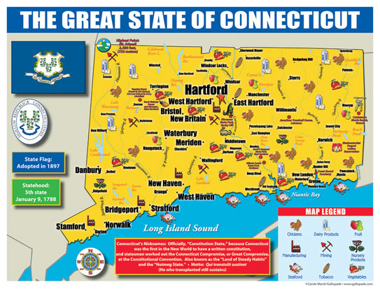 Gallopade International Connecticut State Map For Students Pack - Connecticut state map