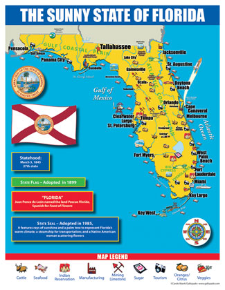 Gallopade International Florida State Map For Students Pack Of - Florida state map