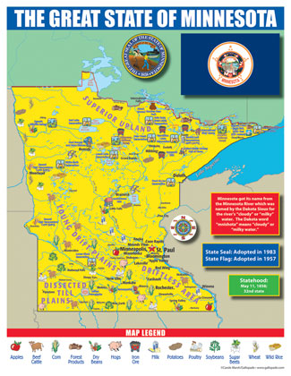 Gallopade International Minnesota State Map For Students Pack Of - The map of minnesota