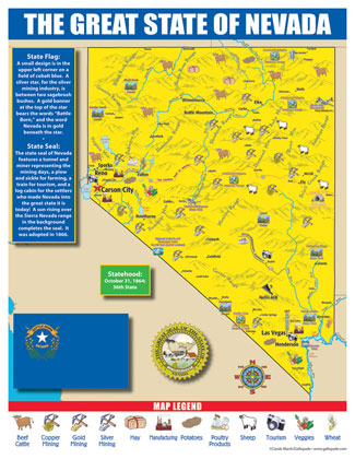Gallopade International Nevada State Map for Students  Pack of 30