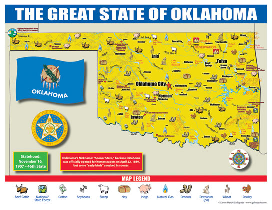 Gallopade International Oklahoma State Map For Students Pack Of - Map of oklahoma state