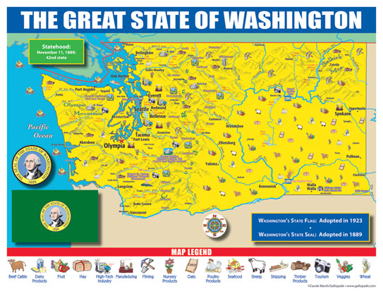 Gallopade International Washington State Map For Students Pack - State of washington map