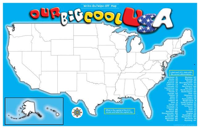 Gallopade International USA WriteOnWipeOff Desk Mat States Map - Us photo map mat