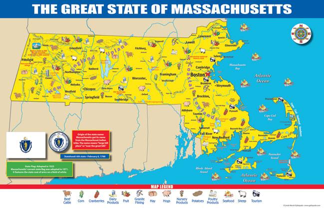 Gallopade International Massachusetts State Map