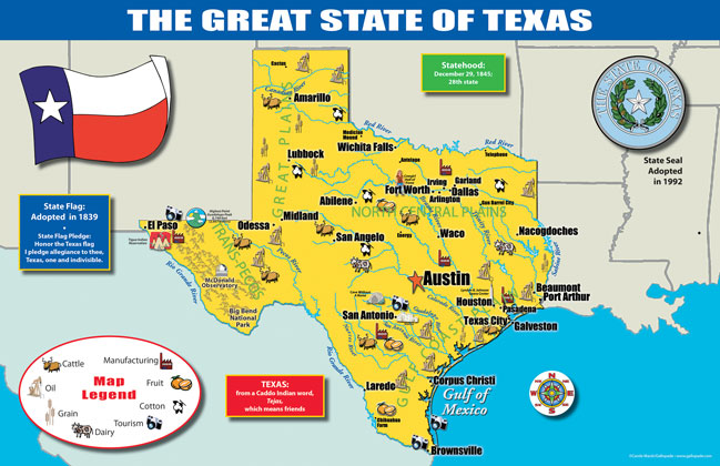 Gallopade International Texas State Map - Map of texas state