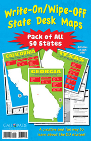 Write-On/Wipe-Off State Desk Maps - Pack of All 50 States