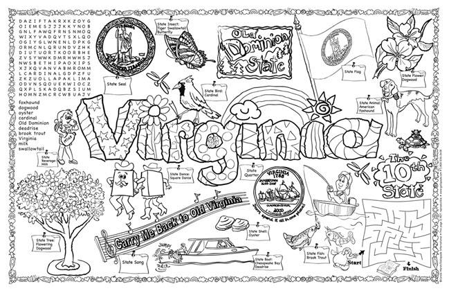Gallopade international virginia symbols facts funsheet for Virginia state symbols coloring pages