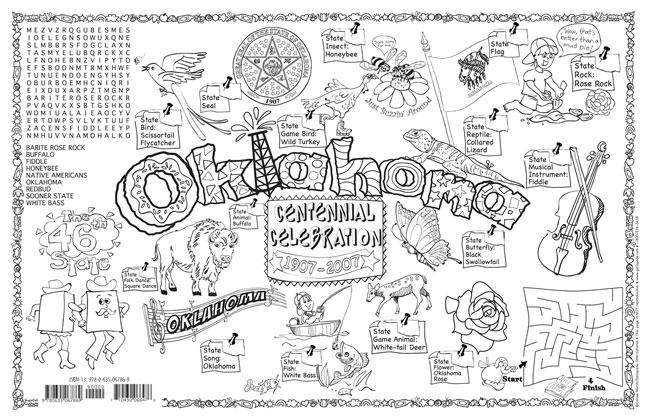 oklahoma state seal coloring page - gallopade international oklahoma symbols facts funsheet
