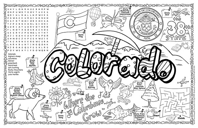 Colorado Symbols & Facts FunSheet – Pack of 30