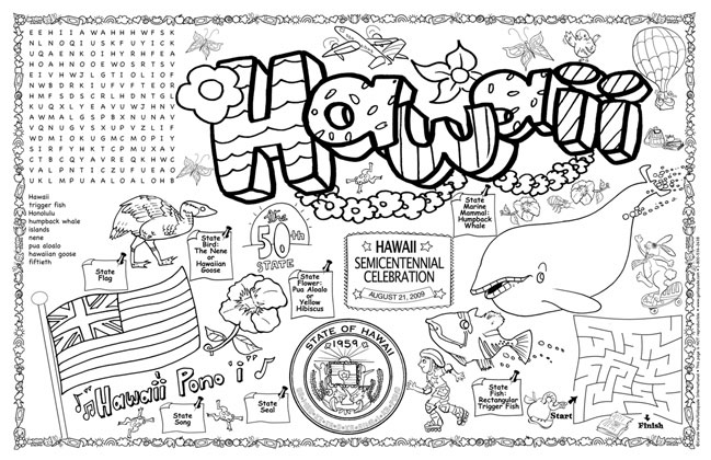 Gallopade international hawaii symbols facts funsheet for Hawaii coloring page