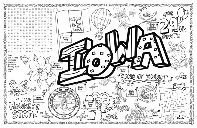 iowa coloring pages gallopade international iowa symbols facts funsheet