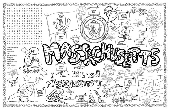 massachusetts state symbols coloring pages - photo#4