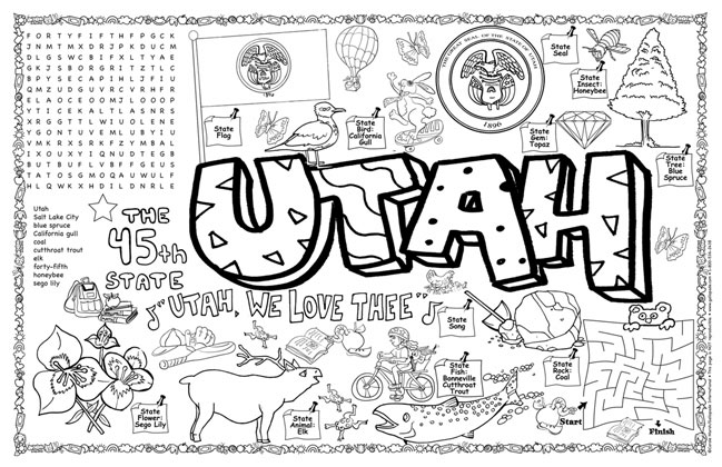 utah symbols facts funsheet pack of 30
