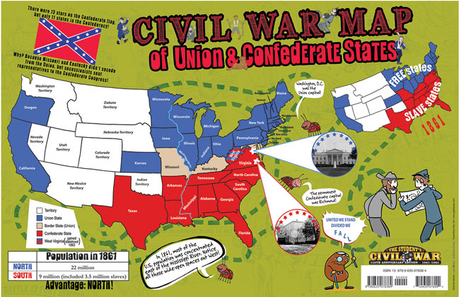 Gallopade International Civil War Map of Union  Confederate States