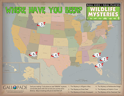 Track the locations of the Wildlife Mysteries!