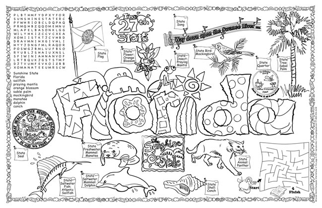Florida state symbols coloring pages murderthestout for Louisiana state symbols coloring pages