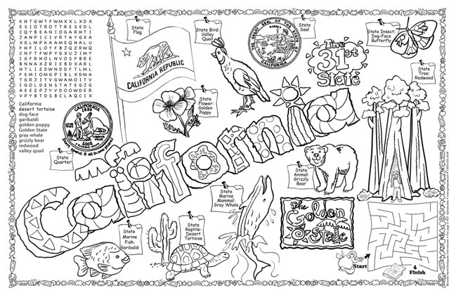 California Symbols Facts Funsheet Pack Of 30