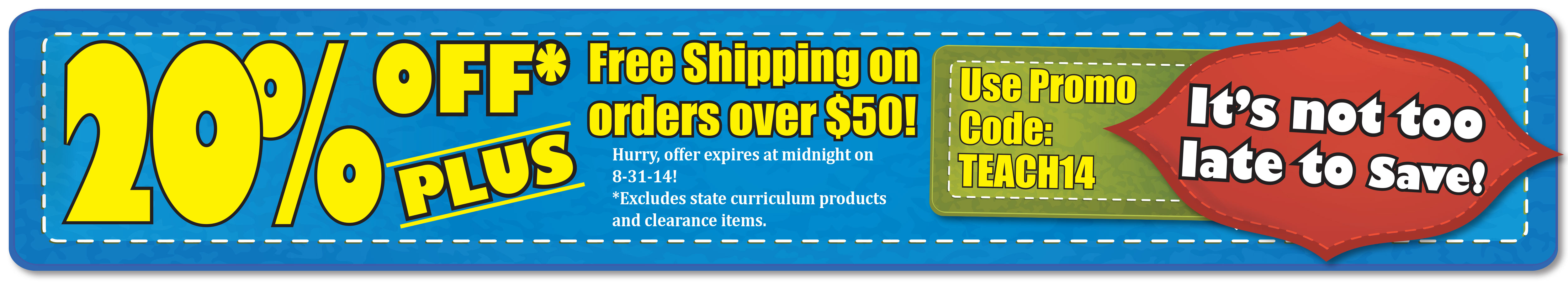 GET 20% OFF AND FREE SHIPPING ON ORDERS OVER $50! START SHOPPING!
