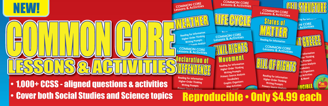 Order the Common Core Lessons & Activities books today!