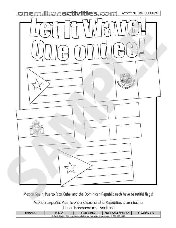 The gallery for hispanic heritage flags for National hispanic heritage month coloring pages